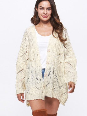 Open Knit Batwing Sleeve Button Front Cardigan