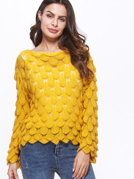 Leaf Braided Textured Jumper with Bell Sleeve