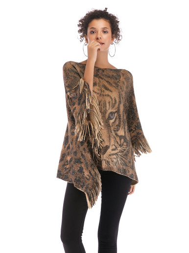 OneBling Tassels Trim Tiger Face Knit Poncho
