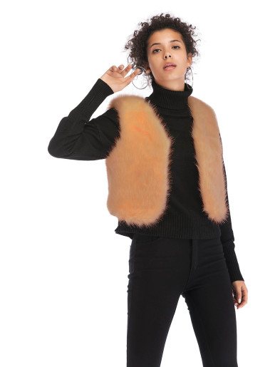 OneBling Cropped Faux Fur Gilet