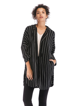 Dropped Shoulder Hooded Thin Coat In Striped Print
