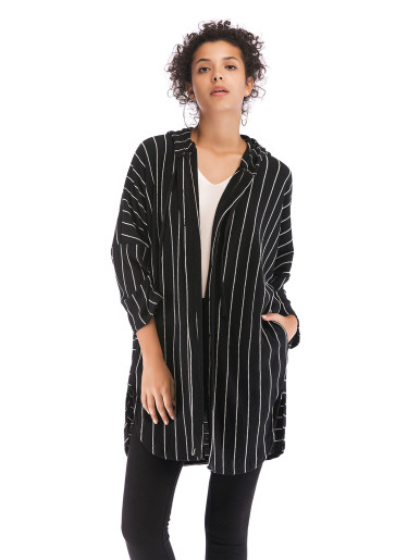 OneBling Dropped Shoulder Hooded Thin Coat In Striped Print