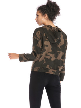 Cut and Sew Tied Detail Hoodies In Camo