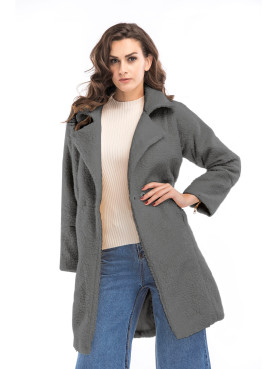 Button Front Drop Shoulder Faux Fur Coat