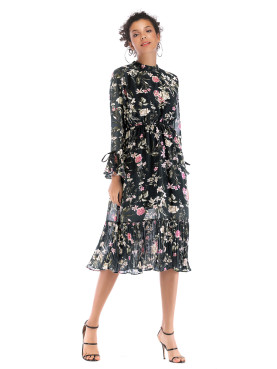 Fluted Sleeve Ruffles Hem Floral Print Dress with Pleated Detail