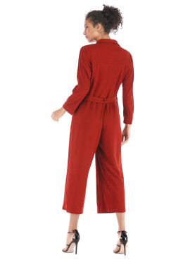 Button Front Cropped Jumpsuits with Wide Leg and Belt