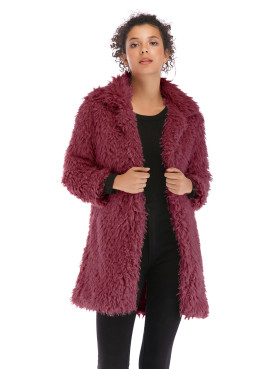 Wrist Sleeve Faux Fur Longline Coat