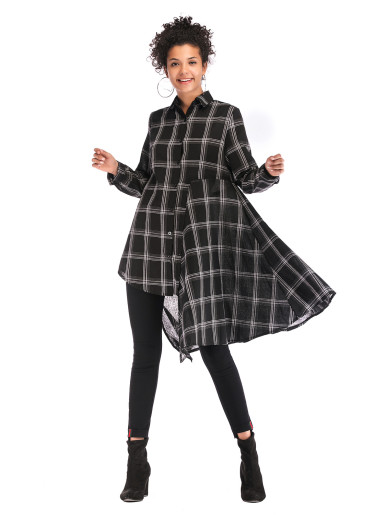 OneBling Cut and Sew Asymmetric Hem Shirt Dress In Check