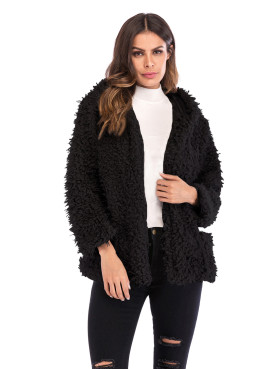 Open Front Hooded Faux Fur Coat with Pockets