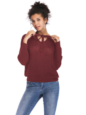 Tied Detail Batwing Sleeve Knit Jumper