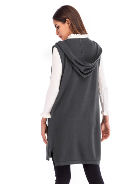 Open Front Stepped Hem Hooded Cardigan with Pockets
