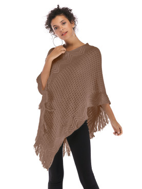 Cable Knit Poncho with Fringe