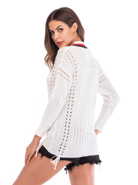V Neck Tied Detail Jumper with Tipping and Eyelet