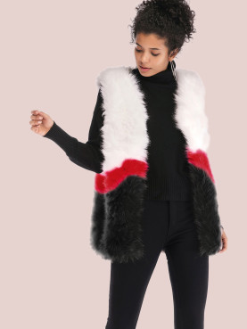 Open Front Faux Fur Three Tone Gilet