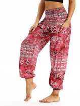 OneBling Patch Pockets High Waist Pants In Digital Print