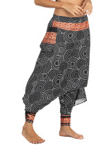 OneBling Geo Print Drop Crotch Pants with Pocket and Contrast Trim