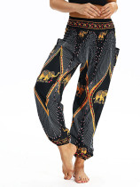 OneBling Digital Print Shirred Waist Pants with Pockets