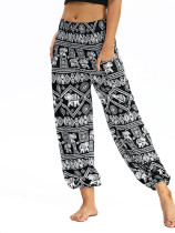 OneBling Shirred Waist High Waist Pants In Tribal Print