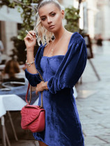 Velvet Mini Dress with Sweetheart Neck