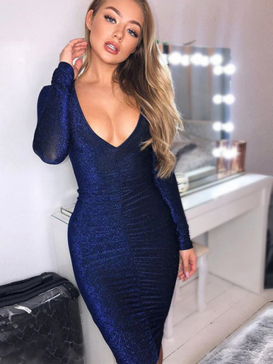 OneBling Deep Plunge Glitter Midi Dress with Ruched Detail
