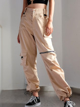 Drawstring Foot Mouth Cargo Pants with Zipper and Pocket