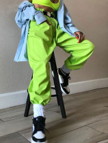 OneBling Drawstring Foot Mouth Trousers In Bright Green