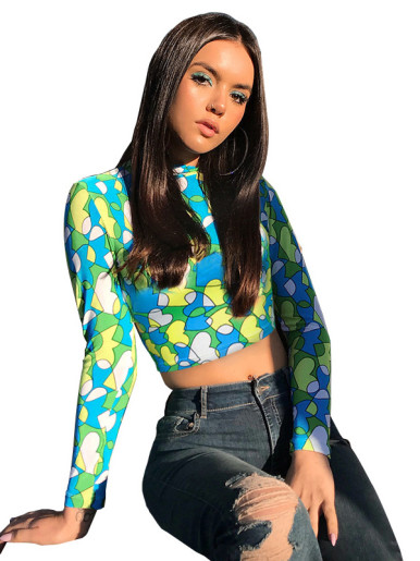 OneBling Long Sleeve Print Cropped T-Shirt
