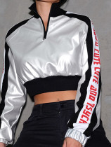 Metallic Contrast Panel Crop Sweatshirt with Logo Tape Side