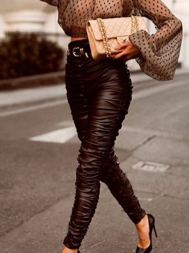 OneBling High Waist Ruched PU Pants