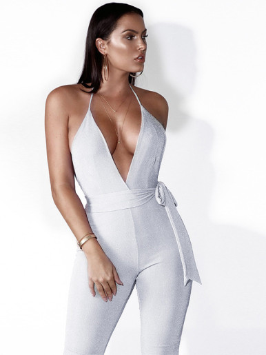 OneBling Open Back Deep Plunge Cropped Jumpsuit