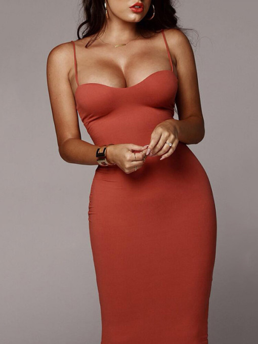 OneBling Bodycon Midi Dress with Adjust Straps
