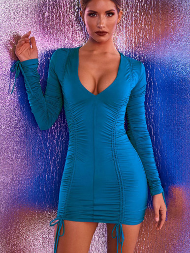 OneBling V Neck Long Sleeve Ruched Dress with Tie Detail