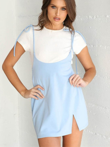 Tie Shoulder Mini Dress