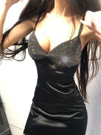 Bodycon Mini Dress with Glitter Corset Detail