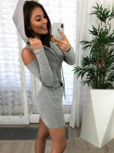 Cold Shoulder Hooded Bodycon Mini Dress with Pocket