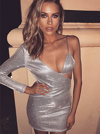 One Shoulder Bodycon Mini Dress In  Metallic Silver