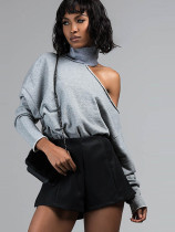 High Neck Cold Shoulder Tops