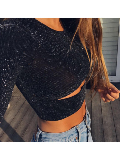Glitter Crop T-Shirt with Cut Out Detail