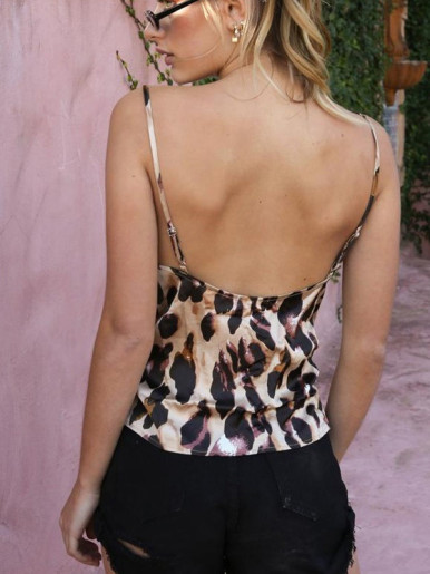 Draped Collar Cami Tops In Leopard Print