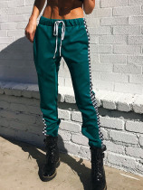 Drawstring Waist Joggers with Check Taped Side