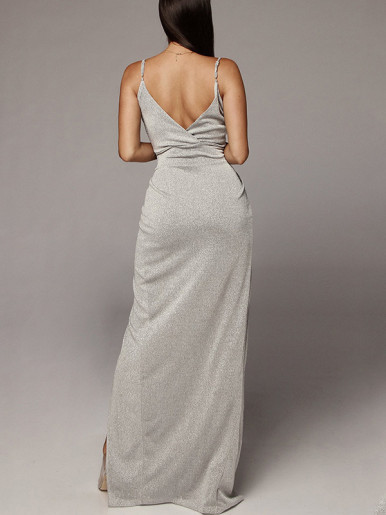 OneBling Glitter Wrap Maxi Dress
