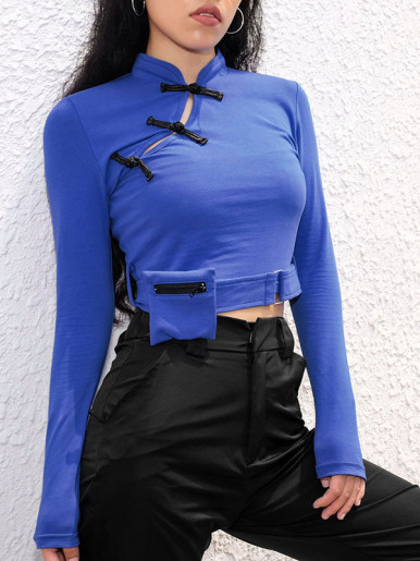 OneBling Contrast Buckle Crop Tops with Zipper Pocket  and Sash Belt