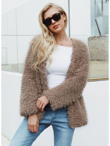 OneBling Plus Size Fluffy Faux Fur Jacket