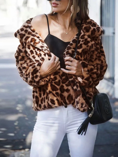 Plus Size Leopard Print Faux Fur Coat with Collar Detail