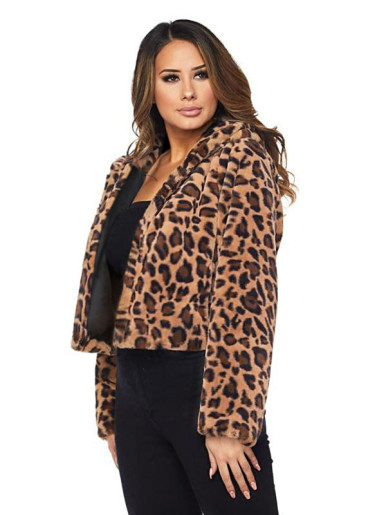 OneBling Plus Size Faux Fur Leopard Print Hooded Short Jacket