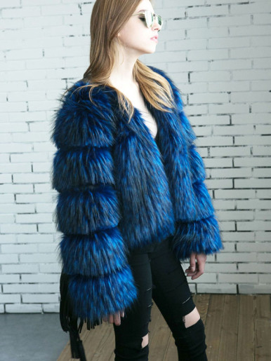 Plus Size Fluffy Faux Fur Jacket with Tiered Sleeve
