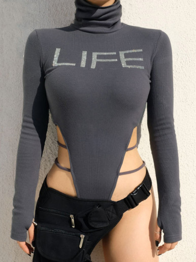 Rhinestone LIFE Graphic High Neck Bodysuit