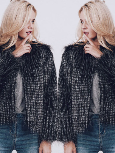 Plus Size Long Sleeve Fluffy Faux Fur Jacket