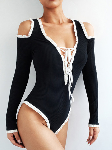 Contrast Frill Trim Deep V Bodysuit with Cold Shoulder and Tie Detail