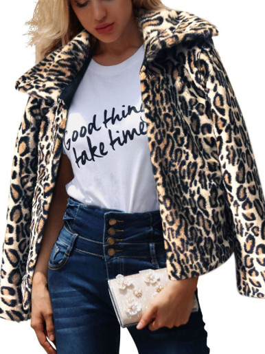OneBling Plus Size Animal Skin Print Faux Fur Jacket